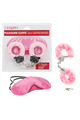 Pleasure Cuffs With Satin Mask - Pink
